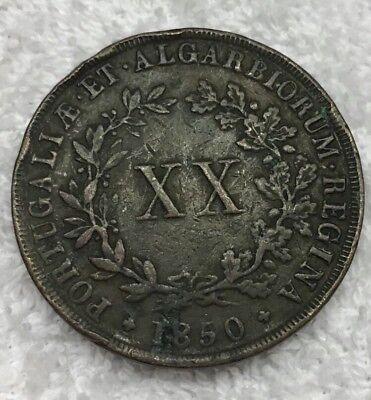 1850 Portugal Maria ll  20 Reis Coin