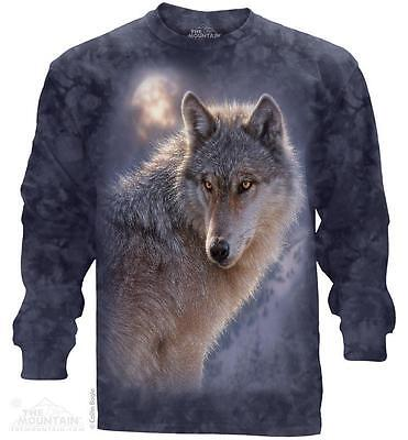 White Wolf Wolves Snow Moon Long Sleeve T Shirt The Mountain Animal Tee S  3Xl