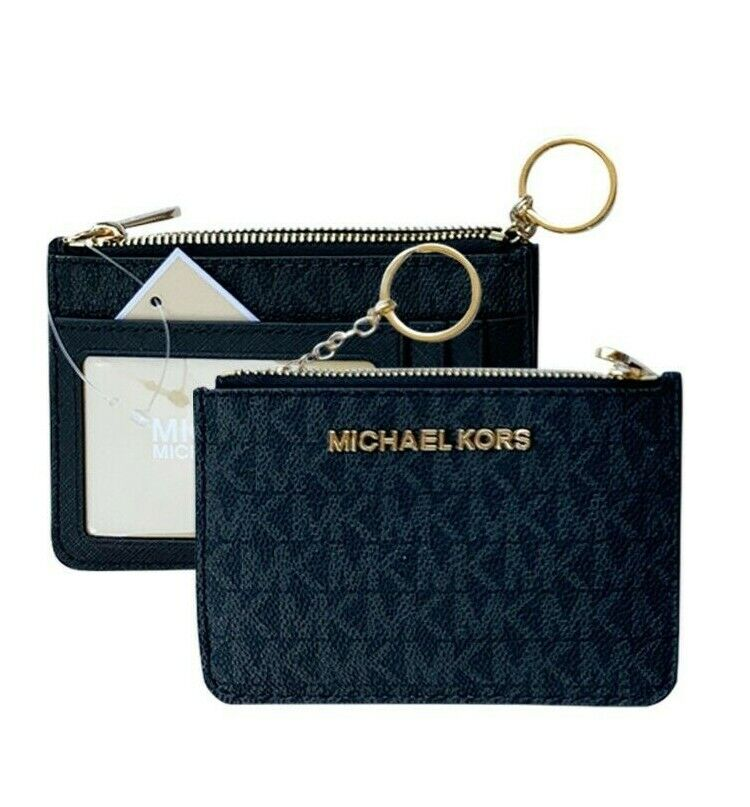 Michael Kors Jet Set Travel Small Top Zip Coin Pouch ID Holder Key Ring Wallet BlackMK