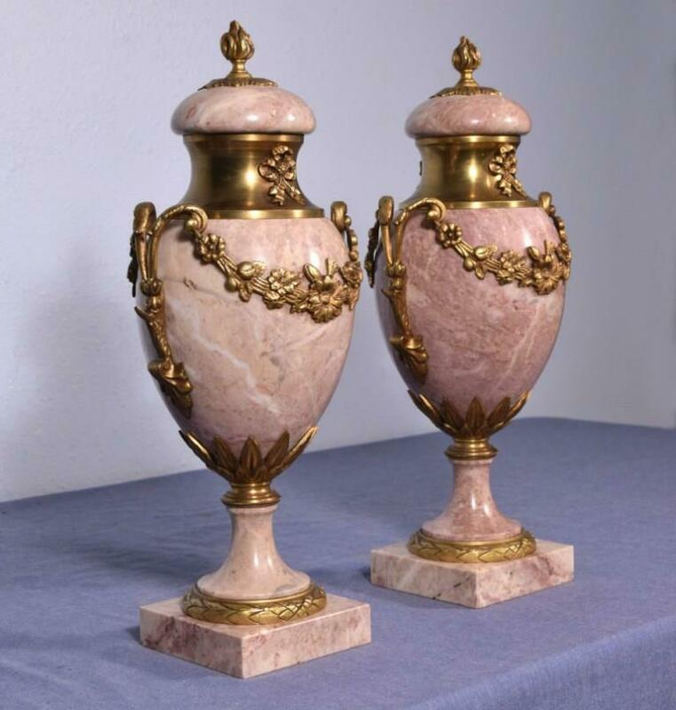 "*18"" XXL Pair of Antique French Louis XVI Bronze & Marble Urns/Vases"