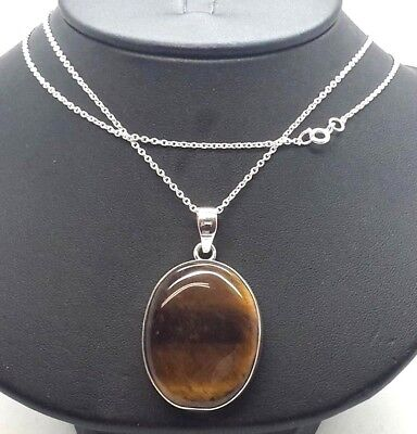 Large Oval Tigers Eye Gem Pendant Sterling Silver 925 Necklace 16g 20