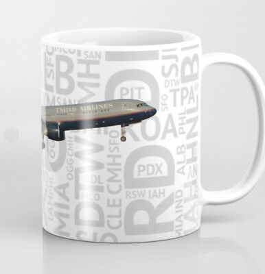 United Airlines Boeing 757 (1990's colors) w/Airport Codes - Coffee Mug -