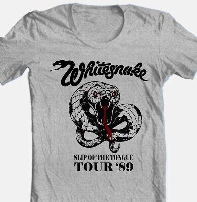 WhitesnakeTour T-shirt 80's heavy metal classic rock grey cotton retro style tee (80s Rock Style)