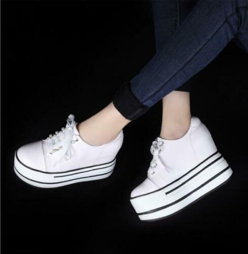 Womens Round Toe Platform Creeper Casual  Lace Up Sneakers Shoes Athletics Chic