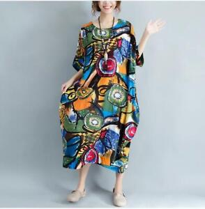 Women Dress Plus Size Summer Pattern Print Linen Colorful Female Loose Batwing Casual Retro Vintage Free Shipping !!
