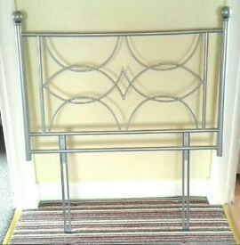 Silver coloured metal single bed headboard