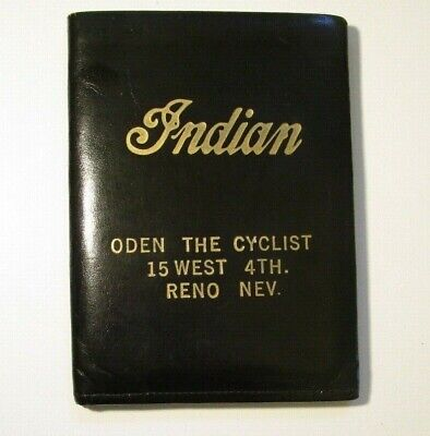 Vintage Indian Motorcycle Leather Wallet -Gold embossed Indian Head - Reno, NV