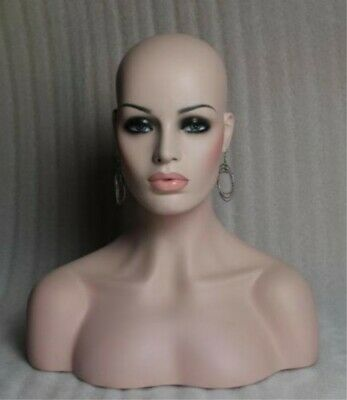 Unique Female Fiberglass Mannequin Head Bust For Wig Jewelryhat Display 18