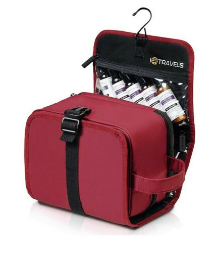 IQTRAVELS Hanging Travel Toiletry Bag. Red Black Makeup Cosm