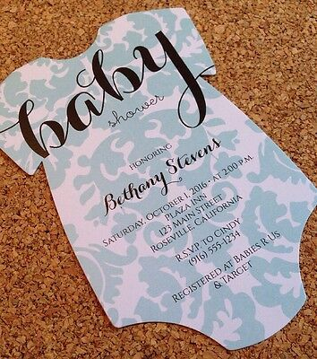 20 Baby Shower Invitations - Onesie with Damask Design
