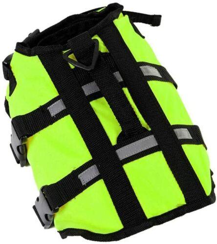 Pet Swimming Safety Vest Dog Life Jacket Reflective Stripe Preserver Puppy Sz L