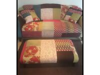 2 seater sofa including matching foot stool