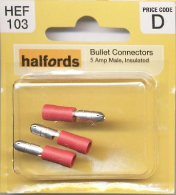 Halfords HEF103 Bullet Connectors Pack 3 Pieces 5 Amp Male Insulated Wiring