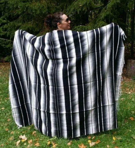 "Mexican Serape Sarape Fringed Blanket Bedspread 84"" x 60"" Stripes Black & White"