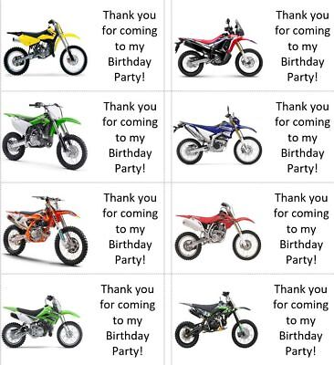 40 x Personalised MOTOCROSS bikes labels/stickers/birthday/party/cake/sweets/bag - Motocross Party Supplies