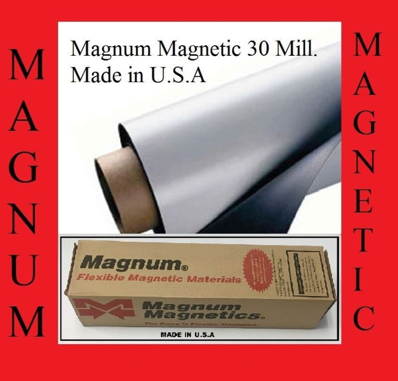 """24"""" width x 50 Feet ROLL 30 Mil Blank Magnetic Sign Sheet Magnum Magnetic USA"""
