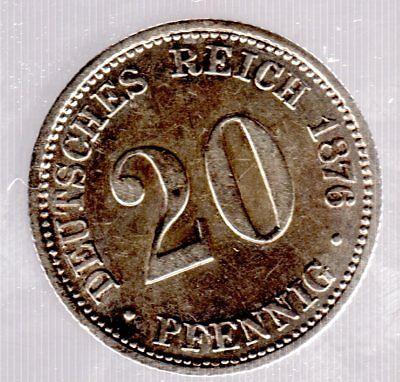20 Pfennig 1876 B (Hannover) - Kaiserreich - Jäger Nr. 5 in fast unzirkuliert