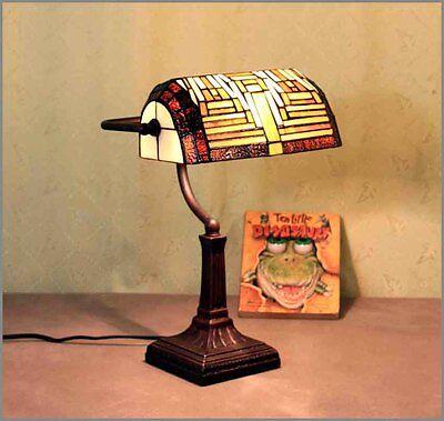 Geschenknet Tiffany Tisch Lampe Tiffanylampe Tischlampe Büro Bankerlampe GN136