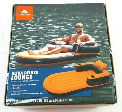 Ozark Trail Ultra Deluxe Lounge Inflatable Float Raft for Pool Lake River