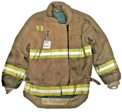 46x35 Morning Pride Firefighter Brown Turnout Jacket Coat W Yellow Tape J863