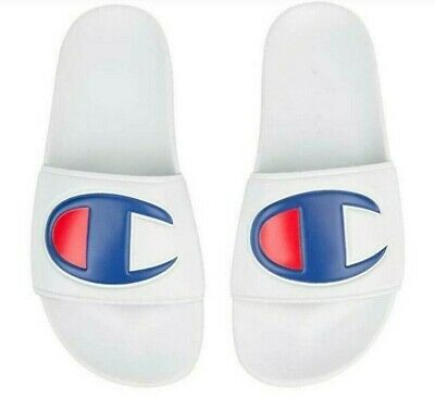 Champion White Red Blue Mens IPO Slides Sandals Sizes 8 to 13