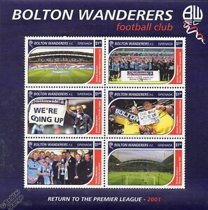 BOLTON-WANDERERS-Football-Club-Stamps-2001-Grenada-Sheet-SG4567-72-Soccer