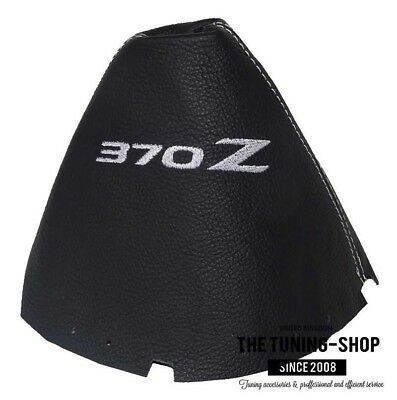 """Shift Boot For Nissan 370Z Z34 2009+ Leather """"370Z"""" Grey Embroidery"""