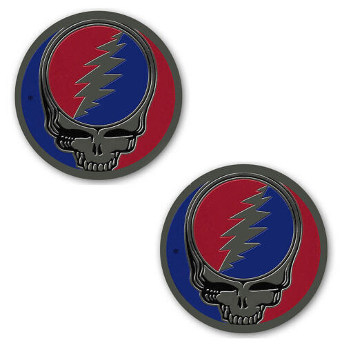 """2 NEW 1"""" Grateful Dead Steal Your Face SYF Decal Metal Brass Sticker Flawless"""
