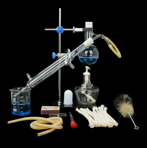 100ml Lab Essential Oil Distillation Apparatus Water Purifier Glassware Kits