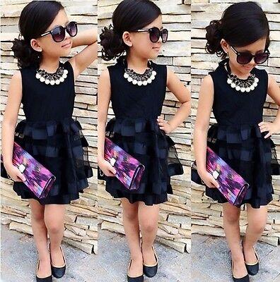 US Stock Toddler Kids Girls Sleeveless Tops Ruffle Tulle Dress Party Dresses (Tulle Dress Girl)