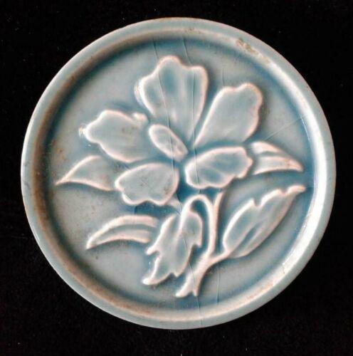 """TILE Antiq Decorative Floral Design Tile Circa1900 Made in USA. 3 1/2"""" D"""