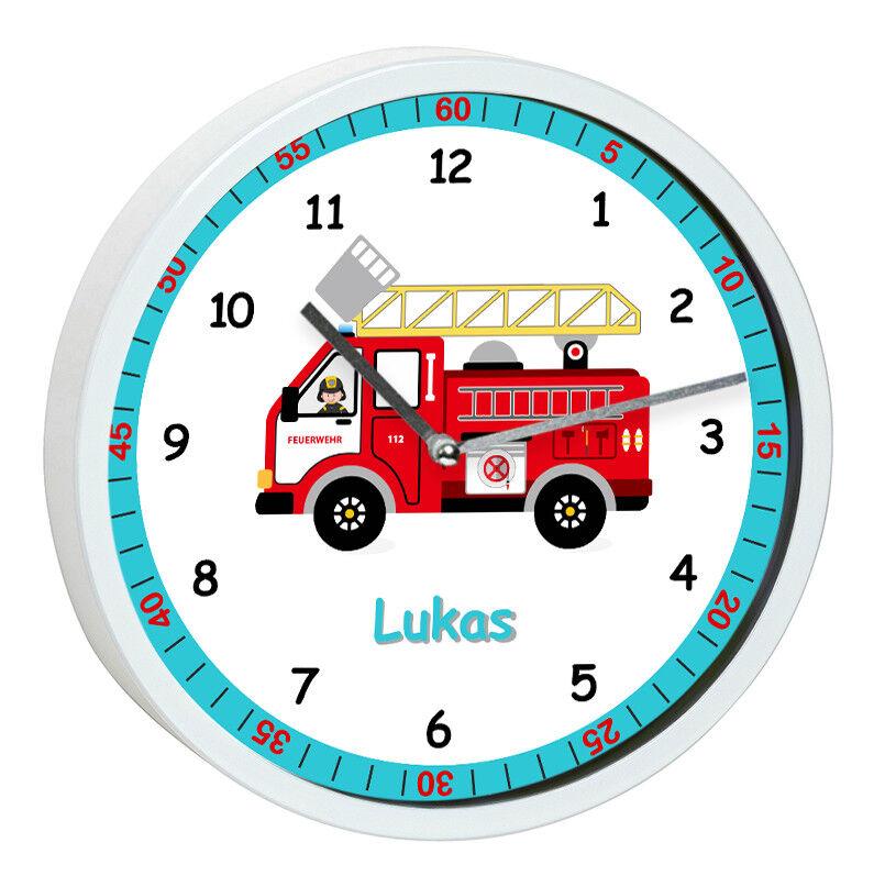 Wanduhr Kinder Feuerwehrmann Kinderzimmer weiß Uhr Feuerwehr Namen kein Ticken