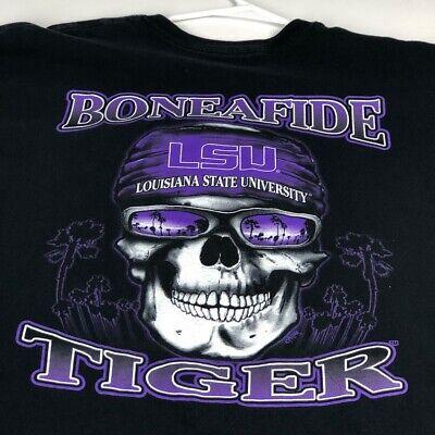 LSU Tigers Boneafide Tiger Skull Sunglasses Men's Short Sleeve T Shirt XXL (Lsu Sunglasses For Men)