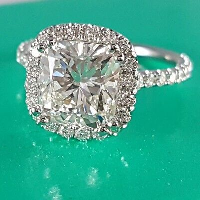 2.90 Ct Cushion Cut Halo U-Pave Setting 14K Diamond Engagement Ring H,VS2 GIA
