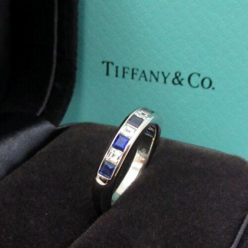 TIFFANY & Co. Platinum 3.5mm Square Diamond Sapphire Band Ring 4.5