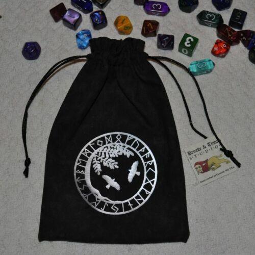 Viking Yggdrasil tree of life Hugin Munin ravens asatru futhark rune dice bag