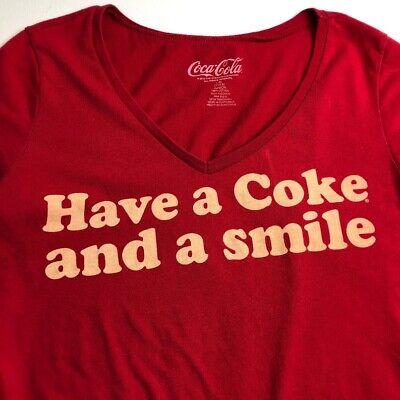 Coca Cola Women Short Sleeve T Shirt Juniors Large 11 13 Red V Neck Coke Smile