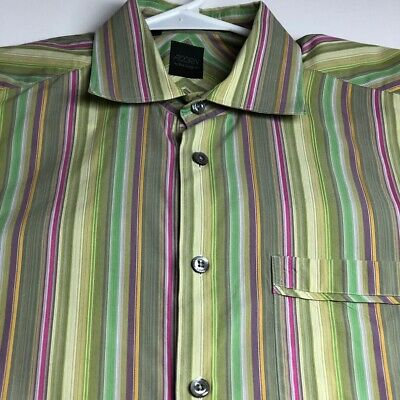 Acorn Bob Goldfeder Men's Long Sleeve Button Up Shirt Large L Multicolor Stripes