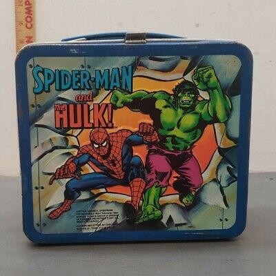 1980 Spiderman Hulk Captain America Lunch Box And Thermos Aladdin Shows Wear...