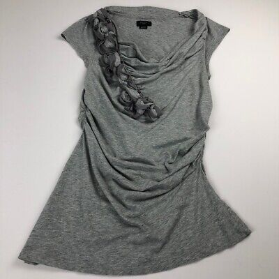 Deletta Womens Cap Sleeve Blouse Medium M Gray Cowl Neck Ruching Neckline -