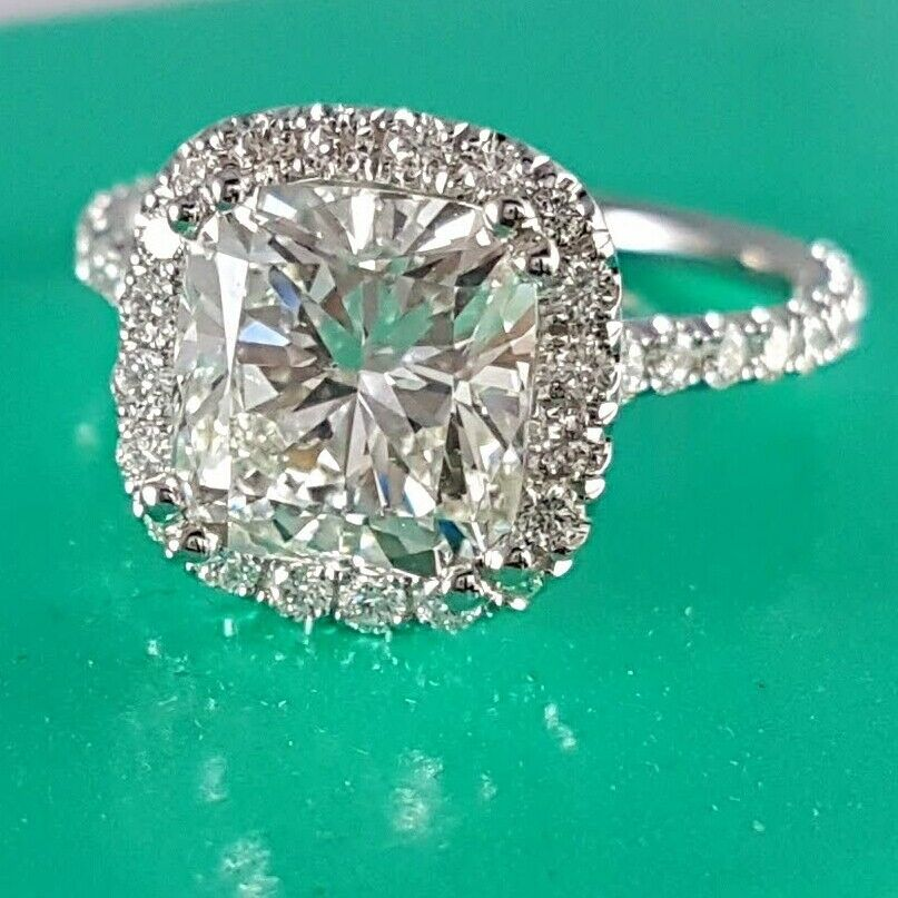 2.72Ct GIA F/VS1 Cushion Cut Halo Diamond Engagement Ring Micro Pave U-Set 18Kwg