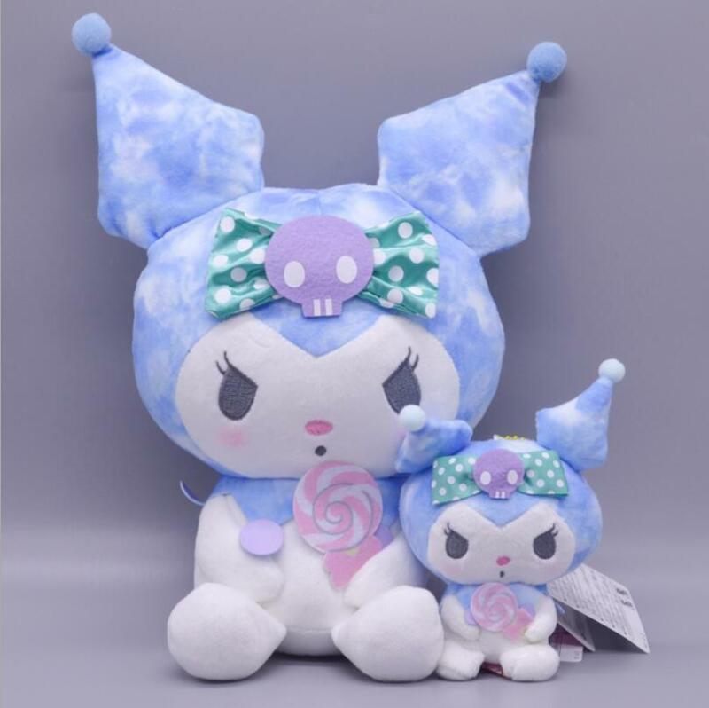 2pcs Cute Blue Kuromi Plush Doll Toy Doll Pendant Keyring Key Chain Gift Set