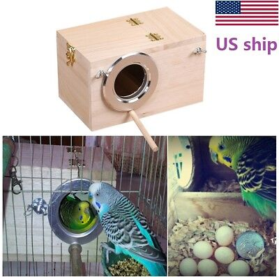USA Hot Solid Wood Nest Box Nesting Boxes For Small Birds Parrot Budgies Finches