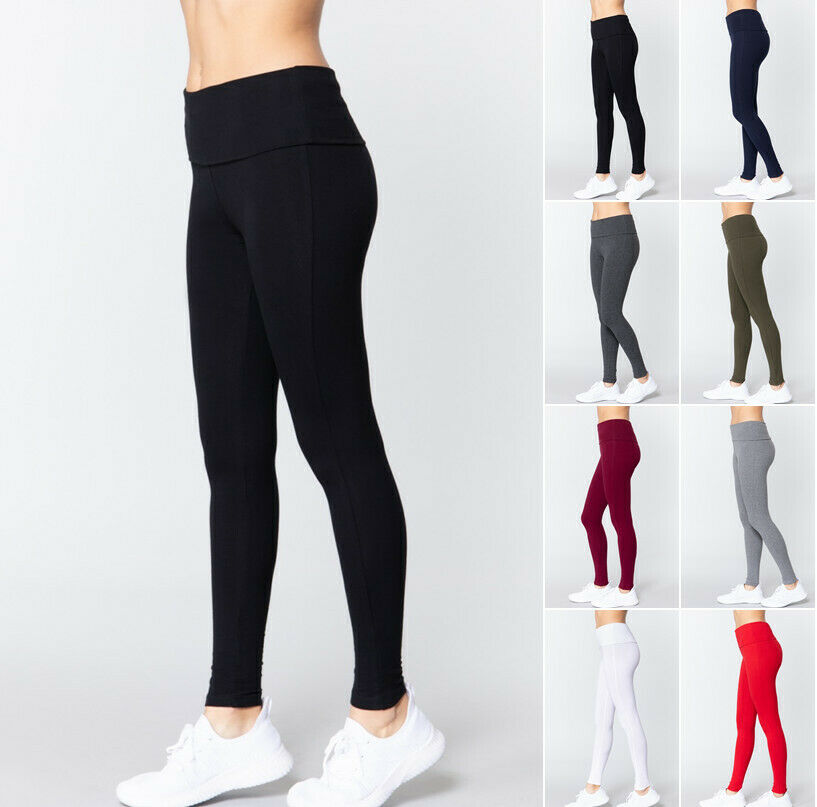 Women's Waist Banded Long Yoga Pants Soft Stretch Leggings Fitness & Gym Clothing, Shoes & Accessories