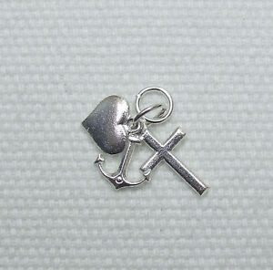 FAITH HOPE LOVE / CHARITY 3 PIECE CHARMS CHARM 925 STERLING SILVER