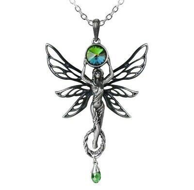 Alchemy Gothic El Verde Diosa Colgante Fairy Collar Hada Cristal P763