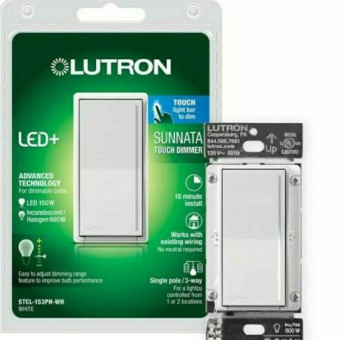 Lutron Sunnata Touch Dimmer STCL-153PH-WH White LED+ Advanced Technology