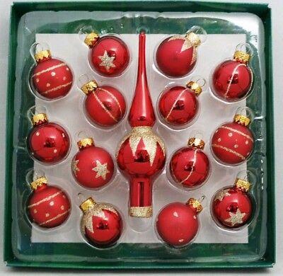 Red Tree Topper Mini Ornament Set 15 Ball Finial Glass 1.25