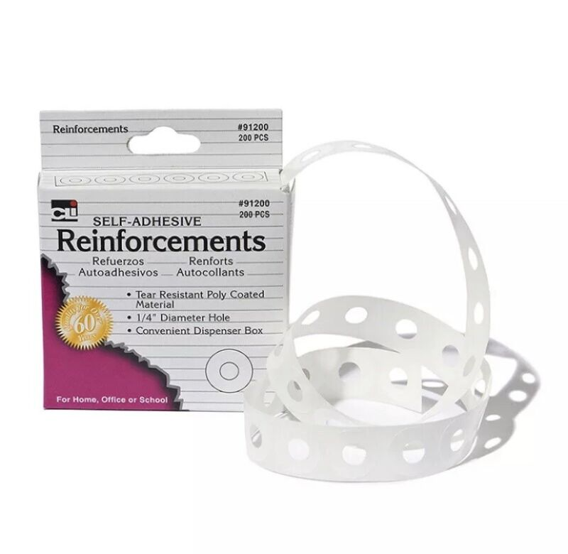 Paper Hole Reinforcements, Self-Adhesive, 1/4 Inch Holes Reinforcements in Dispe