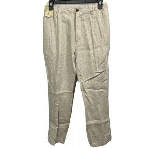 Caribbean Roundtree & Yorke Mens Linen Cargo Pants Stretch Waist 50×32 Khaki Clothing, Shoes & Accessories